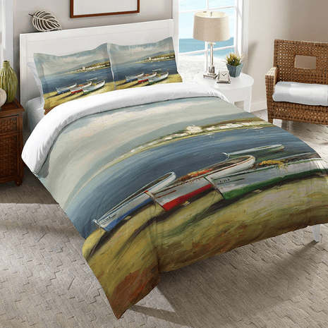 Colorful Boats Duvet Cover - Twin