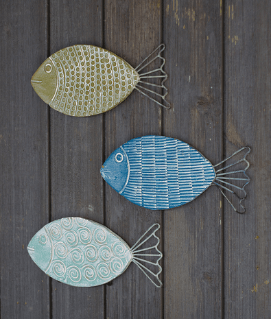 Colorful Clay Fish Wall Hangings - Set of 3