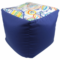 Colorful Fish Indoor/Outdoor Square Pouf