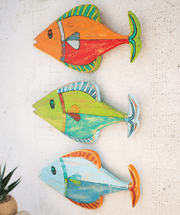 Colorful Fish Wood Wall Art - Set of 3