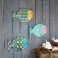 Colorful Fish Wood Wall Hangings - Set of 3