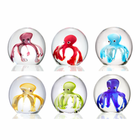 Colorful Octopus Art Glass Paperweights - Set of 6