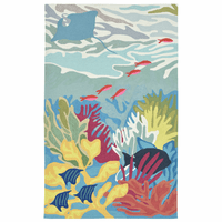 Colorful Sea Life Indoor/Outdoor Rug - 8 Ft. Round