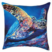 Colorful Sea Turtle HD Indoor/Outdoor Pillow