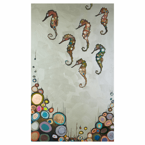 Colorful Seahorses Canvas Art - 18 x 30