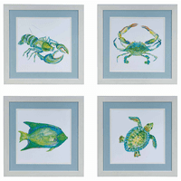 Colorful Sealife Framed Art - Set of 4