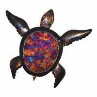 Colorful Shell Copper Dripped Turtle - Extra Large