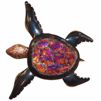 Colorful Shell Copper Dripped Turtle - Large
