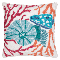 Colorful Shells & Coral Hooked Pillow - OVERSTOCK