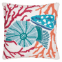 Colorful Shells & Coral Hooked Pillow
