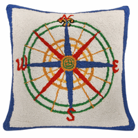 Compass Hooked Wool Pillow