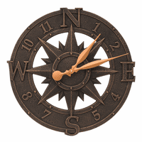 Compass Rose Indoor/Outdoor Wall Clock - Oil Rubbed Bronze