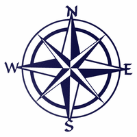 Compass Rose Metal Wall Art - Navy Blue