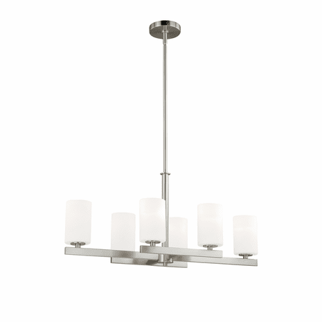 Contemporary Bar 6 Light Island Pendant - Satin Nickel