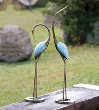 Contemporary Crane Garden Sculptures - Set of 2