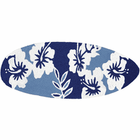 Cool Hibiscus Surfboard Indoor/Outdoor Rug