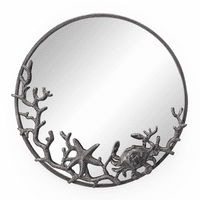 Coral and Crab Round Mirror