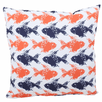 Coral and Navy Fish Indoor/Outdoor Pillow