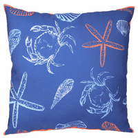 Coral and White Sea Indoor/Outdoor Pillow
