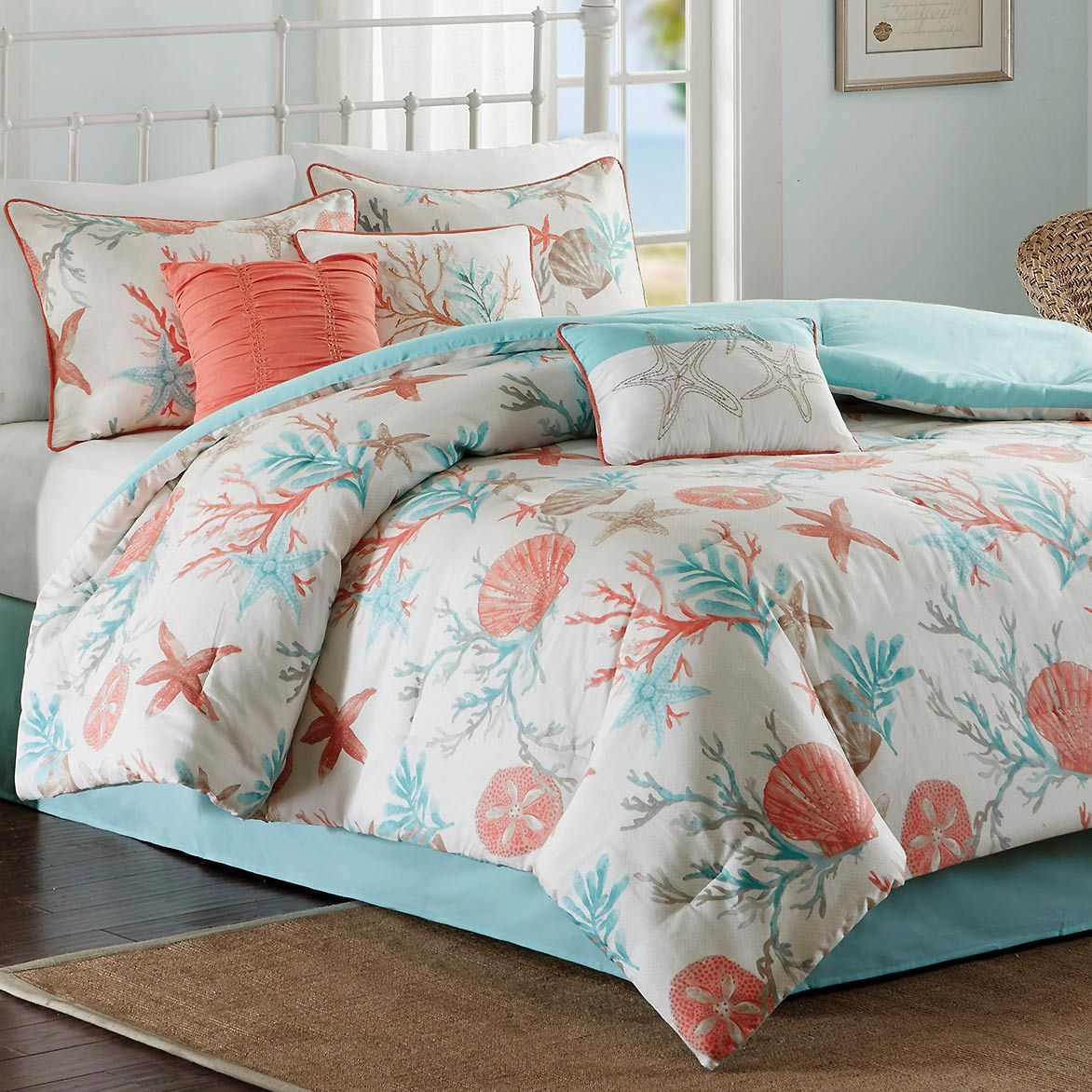Beach Comforter Sets Queen Size Coral Amp Aqua Reef Comforter Set Bella Coastal Decor