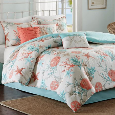 Coral & Aqua Reef Comforter Set - Queen