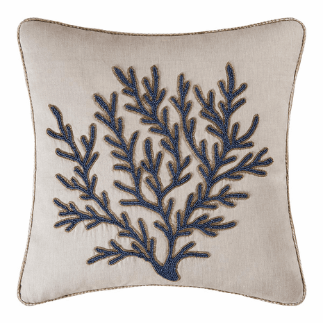 Coral Beaded Pillow