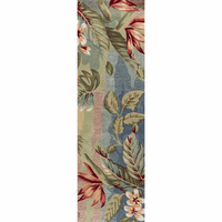 Coral Blue and Sage Breeze Rug - 2 x 8