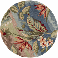 Coral Blue and Sage Breeze Rug - 6 Ft Round