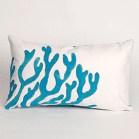 Coral Blue Pillow - 12 x 20