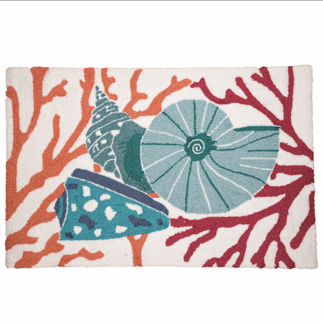 Coral & Blue Shells Hooked Rug