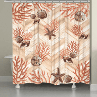 Coral Chevron Shower Curtain - OVERSTOCK