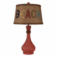 Coral Genie Pot Table Lamp with Beach Shade