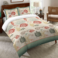 Coral & Green Sea Life Comforter - Twin