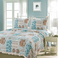 Coral Patches Quilt Set - Queen