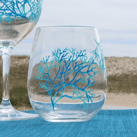 Coral Pattern Acrylic Stemless Wine Glass