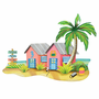 Coral & Pink Beach Bungalows Wall Art