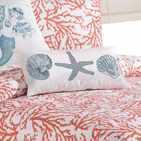 Coral Reef Blue Embroidered Shells Pillow