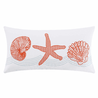 Coral Reef Embroidered Shell Pillow