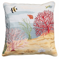 Coral Reef Needlepoint Pillow - Left