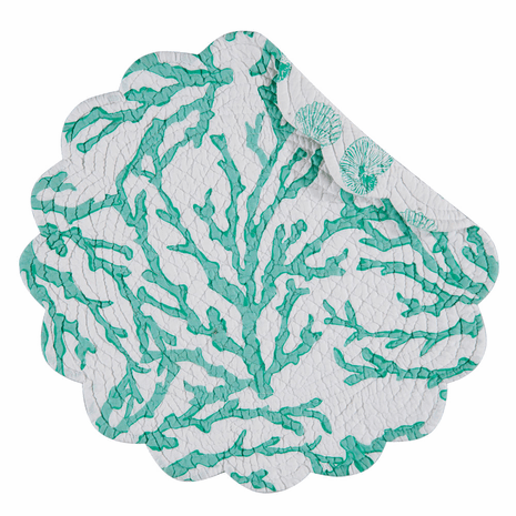 Coral Reef Seafoam Round Placemats - Set of 12