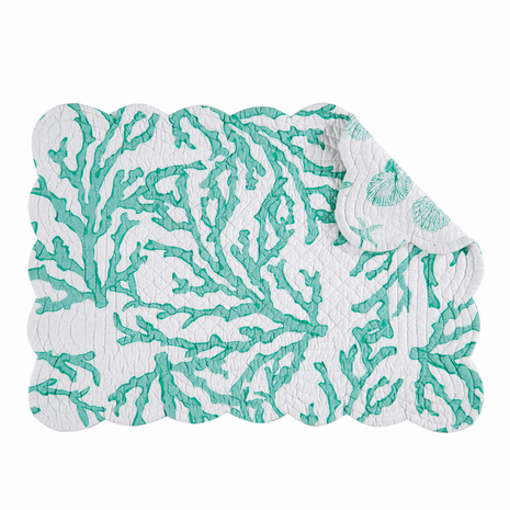 Coral Reef Seafoam Scalloped Placemats - Set of 12