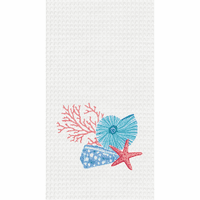 Coral & Shells Waffle Weave Towels - Set of 6