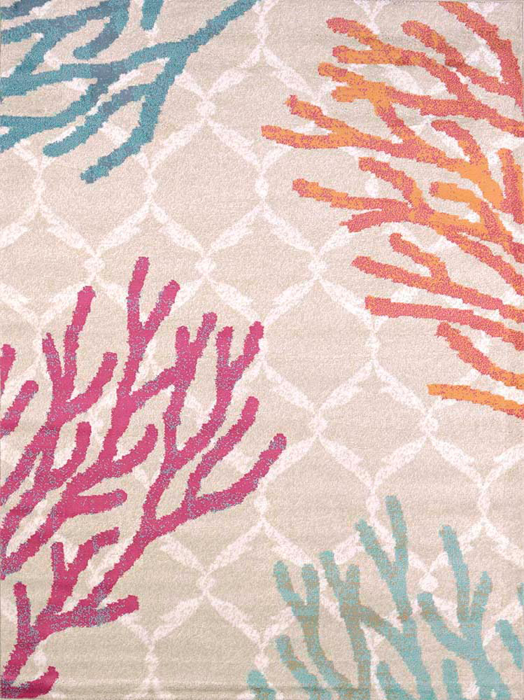 Nautical Area Rugs 5 X 7 Coral Tiles Rug