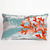 Coral Wave Aqua Pillow - 12 x 20