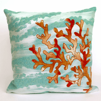 Coral Wave Aqua Pillow - 20 x 20
