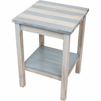 Coronado End Table with Pale Blue Stripes