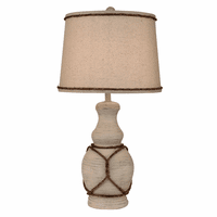 Cottage Casual Pot Accent Lamp with Rope