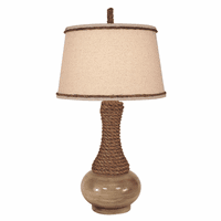 Cottage Glazed Table Lamp with Rope Accent