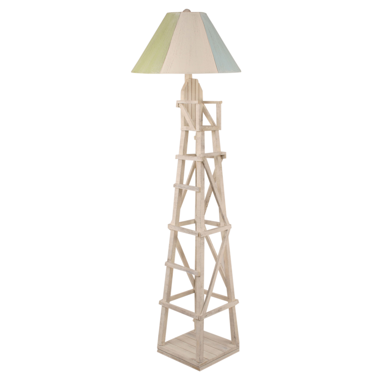 Cottage Lifeguard Chair Floor Lamp With Striped Shade