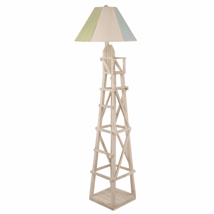 Beach Floor Lamps Cottage Lifeguard Chair Floor Lamp With